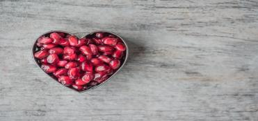 Heart Bowl Filled of Pomegranate Seeds